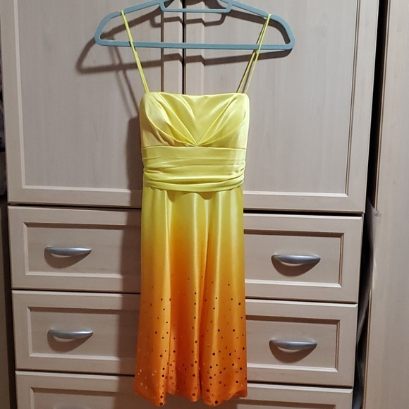 Orange Yellow Ombre Party Dress